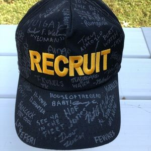 RECRUIT Black Gold Yellow SIGNED Snapback Hat Cap